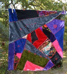 """Vtg Crazy Quilt Patchwork Sampler made into Pillow Top Cover Sham 22x24"""""""