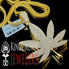 Mens Genuine Diamond Marijuana Leaf Plant Pendant Charm Chain 10K Gold Finish