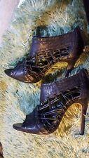 Bertie Stiletto heeled open toe black shoes size 5.5