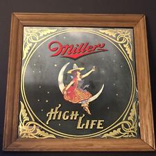 Vintage Miller High Life Beer Maid in the Moon Bar Advertising Mirror Sign