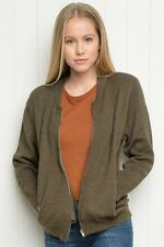 Brandy Melville Army Green Wool Knit Valerie bomber jacket Zip Up Sweater Nwt