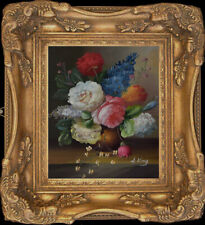 Beautiful Flower Bunch On Table~Vintage Oil Painting+Wood Frame