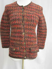 Peruvian Connection Wool Cardigan Jacket Coin Button Up Sweater Small