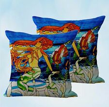 Us Seller-set of 2 decorative couch pillows stained glass mermaid cushion cover
