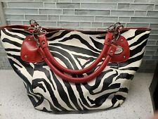 D&G Zebra Print Faux Leather Shoulder Bag Purse Red Accents