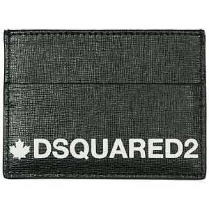 Dsquared2 2021 Saffiano Genuine Black Leather Grain Card Holder Wallet Travel