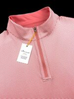 Peter Millar Crown Sport Reversible Stripe 1/4 Zip Pink Sweater L XL 2XL $130