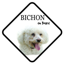 BICHON FRISE On Board Car Sign With Sucker Dog Stickers