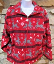 Mountain Lake Womens Polyester Fleece Jacket Size M Reindeer Snow Winter Red Blk