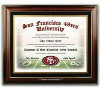 San Francisco 49ers NFL Football Fan Certificate / Diploma Man Cave GIFT XMAS