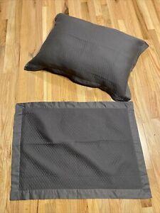 2 Dark Gray Waffle Pillow Shams Standard Size 100% Cotton EUC