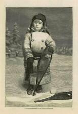 1883-ANTICA STAMPA FINE ART LITTLE Racchette da neve Disegno Ragazza canadese (96 A)