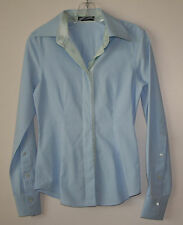Light Blue Dolce Gabbana Button Front Blouse w Long Sleeves