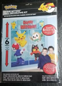 POKEMON Sun and Moon WALL POSTER DECORATING KIT (5pc) ~ Birthday Party Supplies