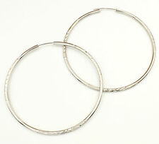 14K White Gold 2mm Thickness Diamond Cut Satin Polished Endless Hoop Earrings