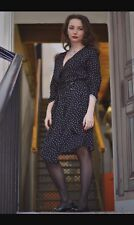 ZARA NAVY BLUE CROSSOVER POLKA DOTS DRESS WITH BUCKLE BELT SIZE XS RRP £50