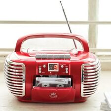 GPO Portable CD & Cassette Player with AM FM Radio - Red - Mains or Battery