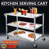 3 Tier Stainless Steel Catering Cart Rolling Utility Catering Restaurant Dining