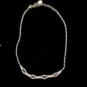 "Icing Brand Signed Rhinestone Choker Necklace Silver Tone 8"""