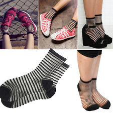1-4 Pairs Sheer/Opaque Striped Mesh Nylon Ankle High Sock Lolita Pin-Up Vintage