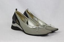 MIU MIU Grey Loafers Slip On Wedge Heels Shoes Walking Flats Sandals sz 39 / 9