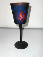 Deko Windlicht Teelichthalter Kelch braun mit blauen Ornamenten