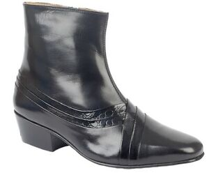 Mens Montecatini Black Cuban Heel Quality Italian Reptile All Leather Boots