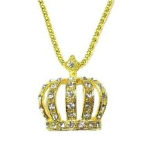 Gold Crystal King Queen Crown Necklace Pendant Chain Women Ladies Gift Jewellery