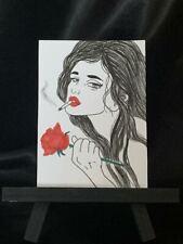 ACEO Original Rose in My Heart Medium Black Ink Marker on Paper Signed Artist PH