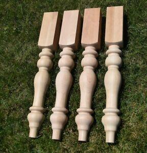 Set (4) CHERRY Farmhouse Kitchen Dining Farm Table Turned Legs 4x4 Chunky