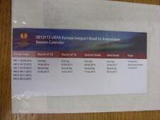 2012/2013 UEFA Europa League: la route vers Amsterdam, saison calendrier. les défauts