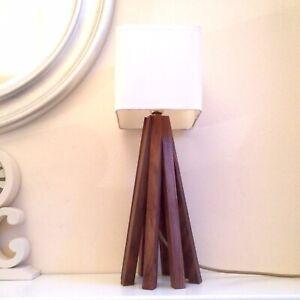Hand-Made Walnut Wood Art Deco Geometric Table Lamp