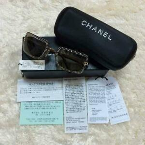 Auth CHANEL Rhinestone square Black Sunglasses Women Used from Japan F/S