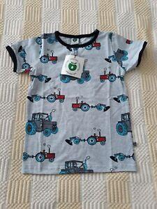 NEW Smafolk T Shirt Years 4-5 Size 104-110 cm. Tractors Grey