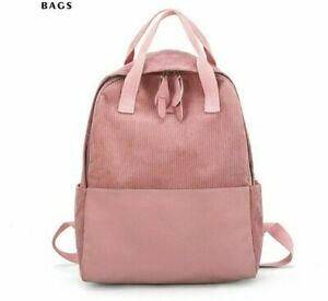 Fashion Girls School Backpack Bags Corduroy Canvas Made Double Zipper Close Bags