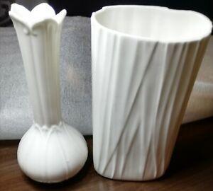 Two Cream Rippled Ceramic Vase Small