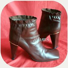 Sz 38/7.5 Womens Lv Louis Vuitton Brown Ankle Heels Leather Boots Shoes