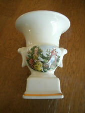 Vintage Victorian Picture Vase Hand Painted with Gold Top and Bottom Rims