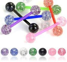 New Lot 7 Flexi Glitter Tongue Bars Piercing Tounge F14