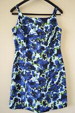 Silk Retro 50s 60s Thai Floral Dress 1950 1960 Spaghetti Strap Mini Blue S M