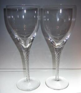 "Set of Two (2) STUART Crystal ""Ariel"" ""Iona"" Air Twist Stem Water Glasses 7 1/2"""