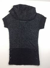 Candie's Cowl neck Women Short Sleeves Winter Pullover Sweater Size 8 Black