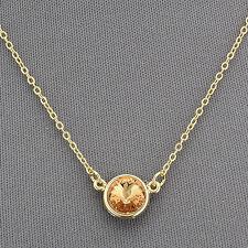 Gold Simple Dainty Vintage Elegant Yellow Orange Stone Pendant Necklace
