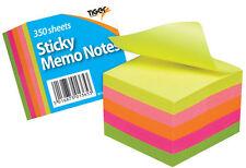 """STICK MEMO Pad Note Pad Blocco al neon cubo 2 x 2"""" 350 FOGLI 301365"""