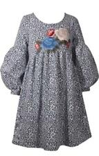 Bonnie Jean Blue White Jacquard Baby Doll Dress Puffy Sleeves Floral Embroidery