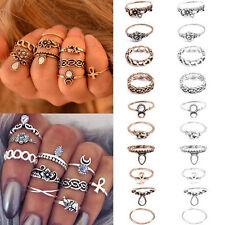Retro 10Pcs/ Set Silver Go Boho Fashion Arrow Moon Midi Finger Knuckle Ring PD