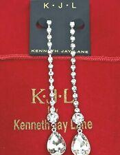 Kenneth Jay Lane KJL Shoulder-Duster Crystal Tear Drop Earrings ~ Signed & NWT
