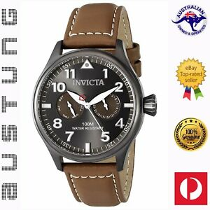 Invicta Men's I-Force 18513 Brown Leather Gunmetal Stainless Steel Quartz Watch