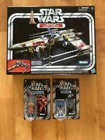Vintage Star Wars Black Series Luke Skywalker X-Wing Fighter w/Luke & R2-D2 LOT