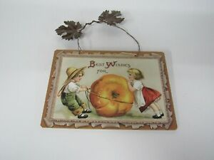 New Wooden Thanksgiving Sign With Metal Leaves Girl, Boy, Pumpkin X45218